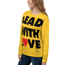 Load image into Gallery viewer, Dolvett Says: LEADWITHLOVE - Jumbo Print Unisex Sweatshirt in Yellow