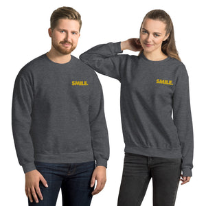 Dolvett Says SMILE - Embroidered Unisex Sweatshirt in Charcoal