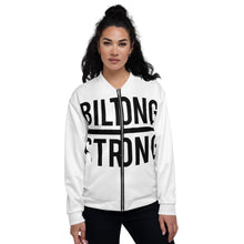Load image into Gallery viewer, BILTONG STRONG Unisex Bomber Jacket in White