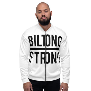 BILTONG STRONG Unisex Bomber Jacket in White