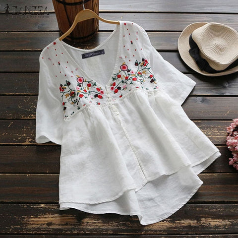 Tunic Tops Female Vintage Embroidery Blouse