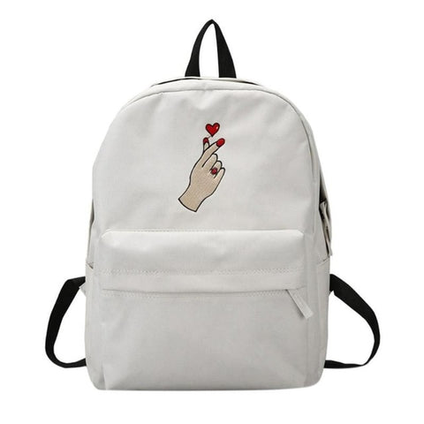 Embroidered Roses Loves Canvas Backpack