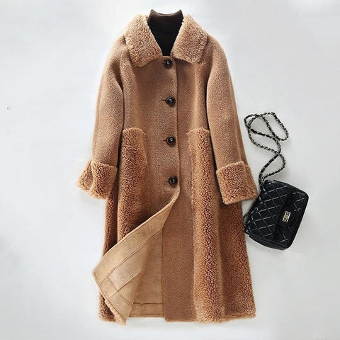 Real Fur Coat Soft Natural Sheep