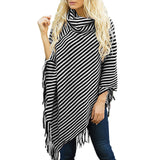 Winter Strip Poncho Sweater Shawls