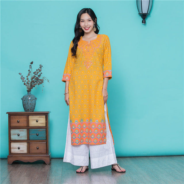 India Robe Suit  Yellow Embroidery