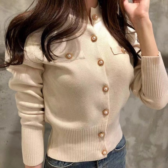 Cropped Buttons Slim Sweaters