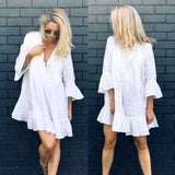 White Dress Cotton Hollow Out Lace Dress