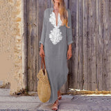 Paisley Long Sleeve Long Maxi Dress Baggy Cotton