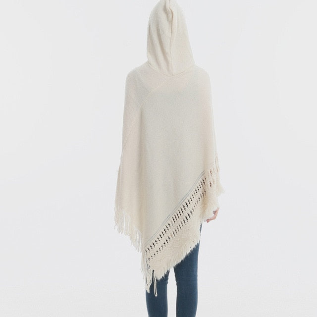 Knitted Women's Sweater Poncho and Cape Pullovers