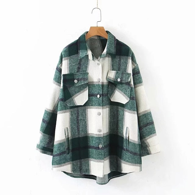 Plaid woolen shirt