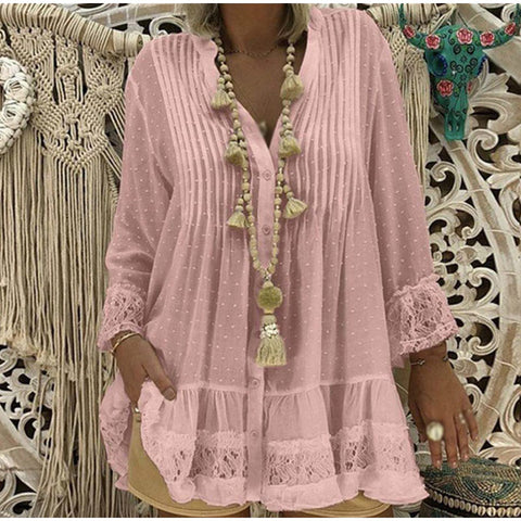 Lace Chiffon Tunic Polka Dot Shirt