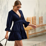 Solid Deep V Neck Frill