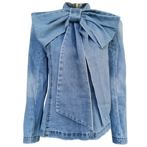 Patchwork Bow Denim jacket