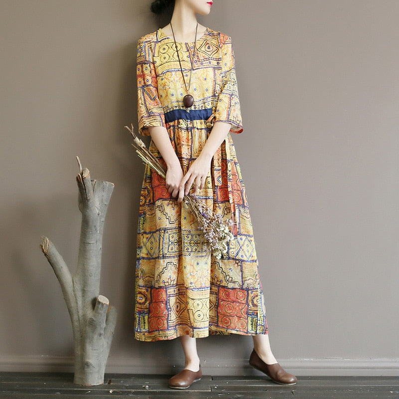 Retro cultural printing lace waist slim long skirt