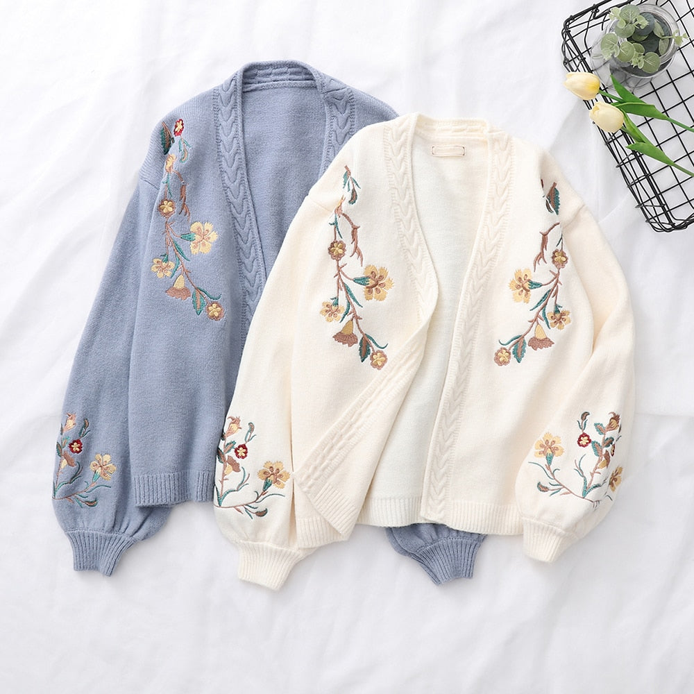 Spring Flower Embroidery Knitting Sweater