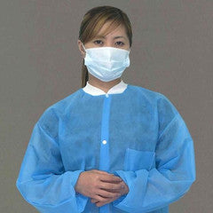 LEEPAC FRONT BUTTON LAB GOWN. 10/PK. Medium Blue