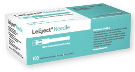 "LeEject Syringe Needle 27G Long (0.4x35mm, 27Ga x1 3/8""). Sterile. 100 per box"