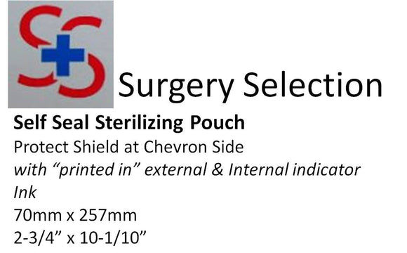 STERILIZING POUCHES. 70x257MM. 200/box (40 boxes per carton)