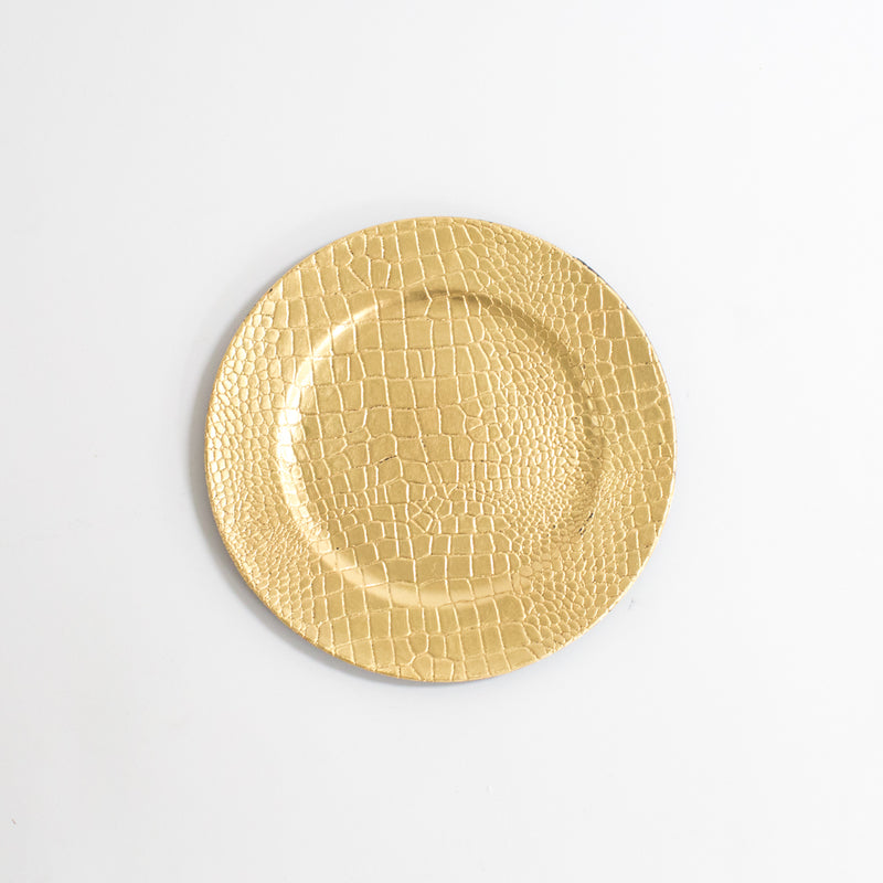 Gold Crocodile Acrylic Charger