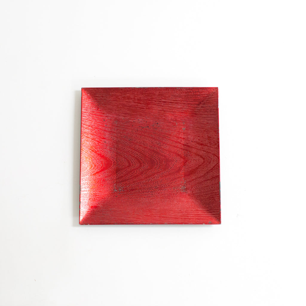 Square Red Wood Acrylic Charger
