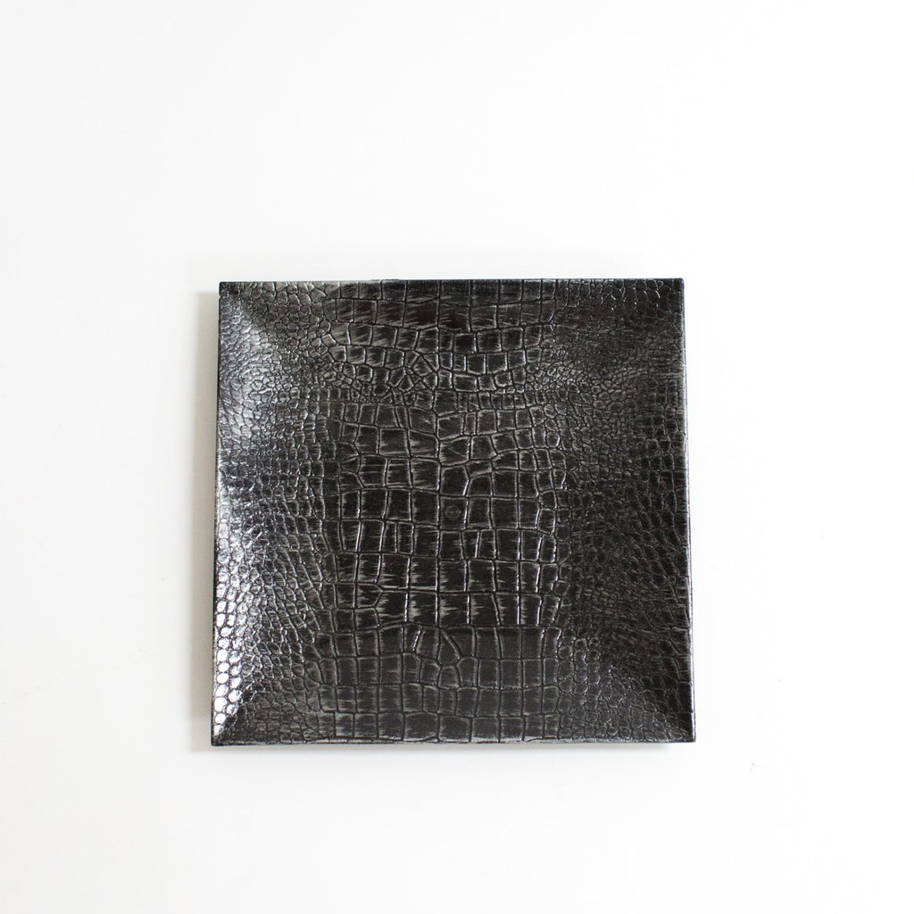 Square Charcoal Crocodile Acrylic Charger