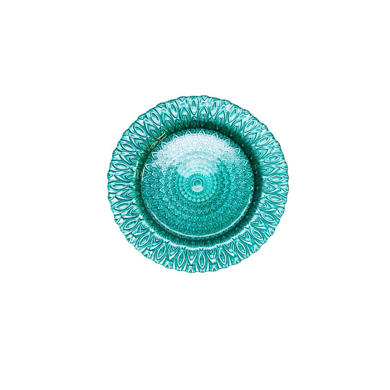 Turquoise Teardrop Glass Charger