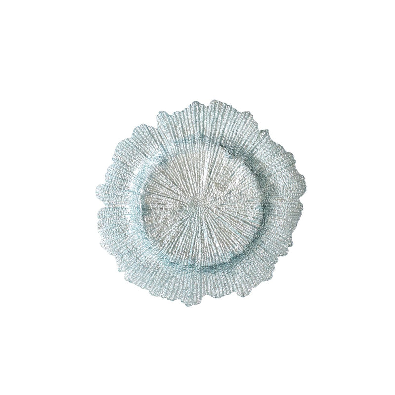 Ice Blue Starburst Glass Charger
