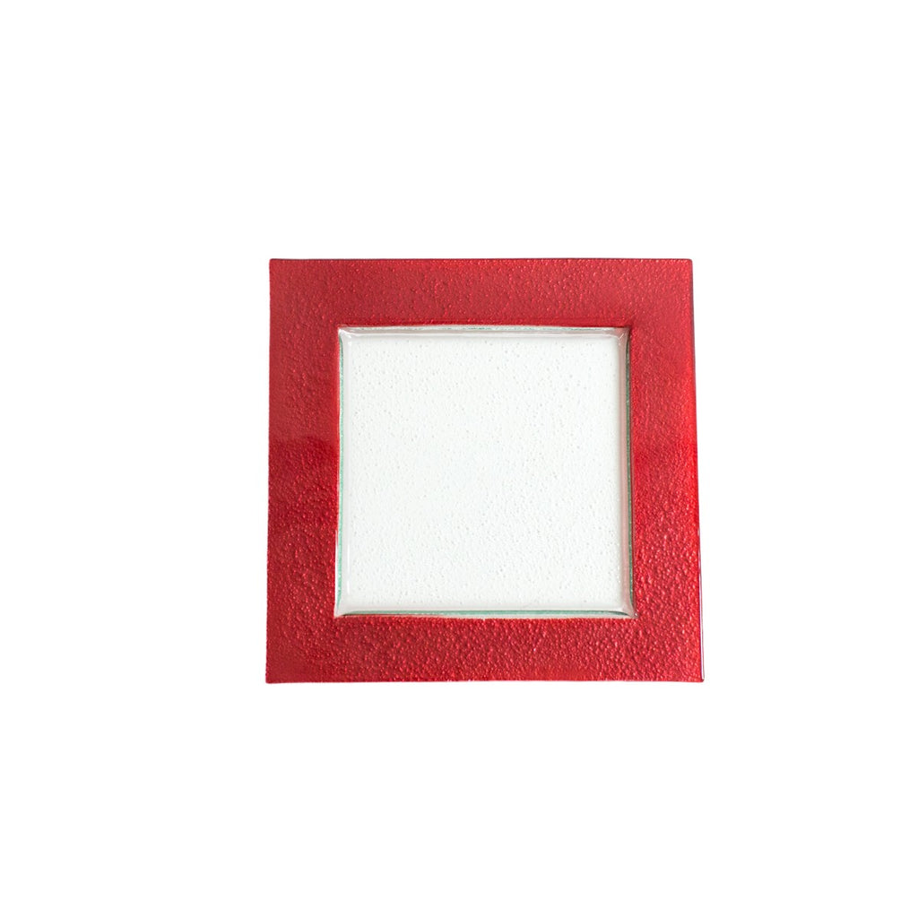 Square Red Rim Glass Charger