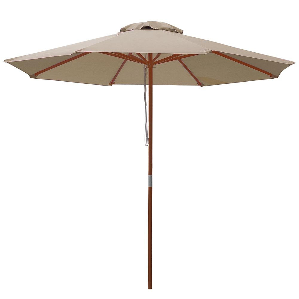 Khaki Market Umbrella w/ Base
