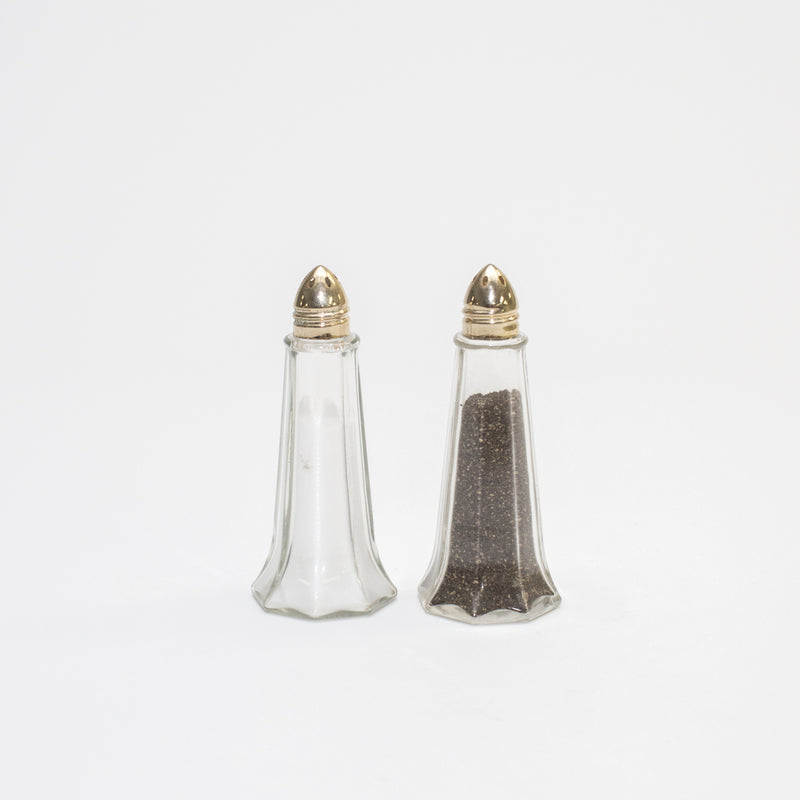 Gold Lid Glass Eiffel Shaker Set