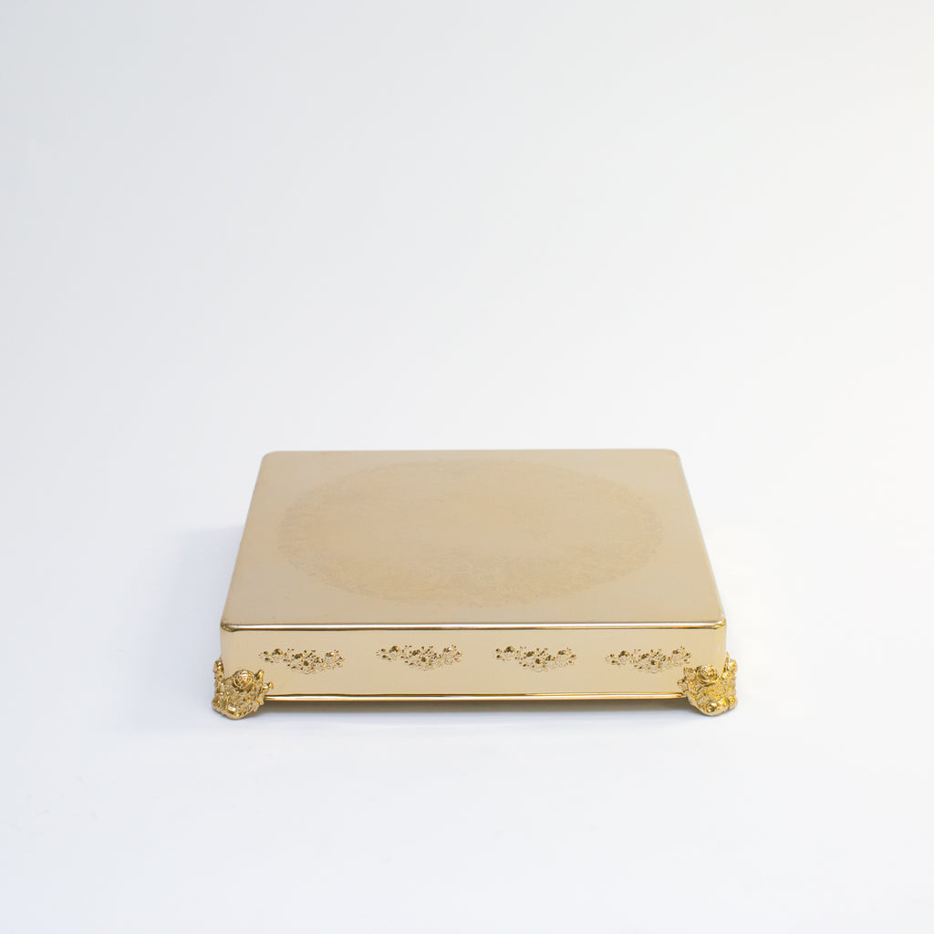 Gold Square Cake Stand 18""