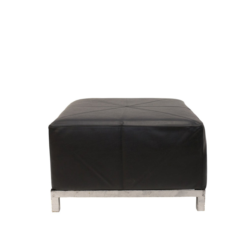 Black Leather Axis Ottoman