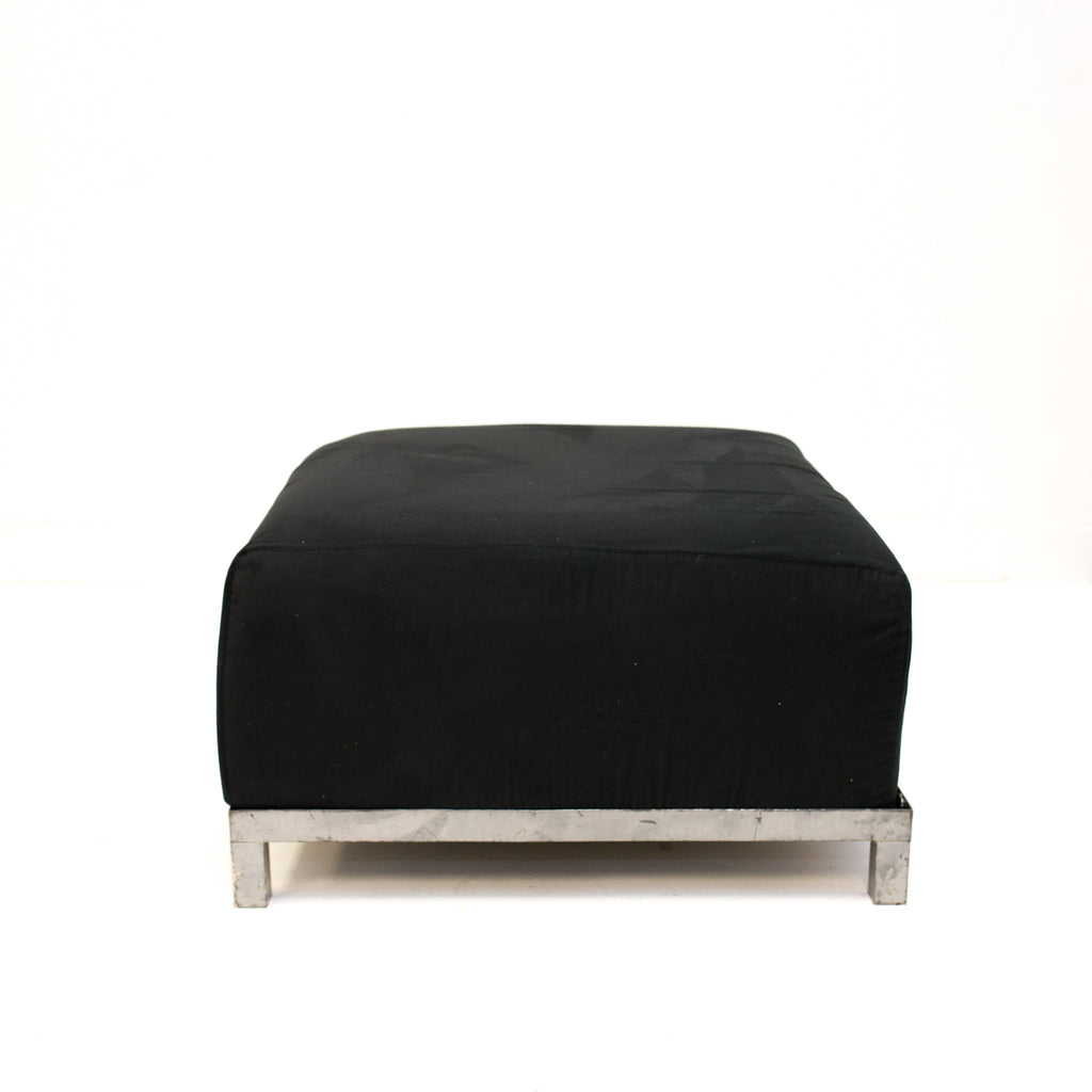Black Suede Axis Ottoman