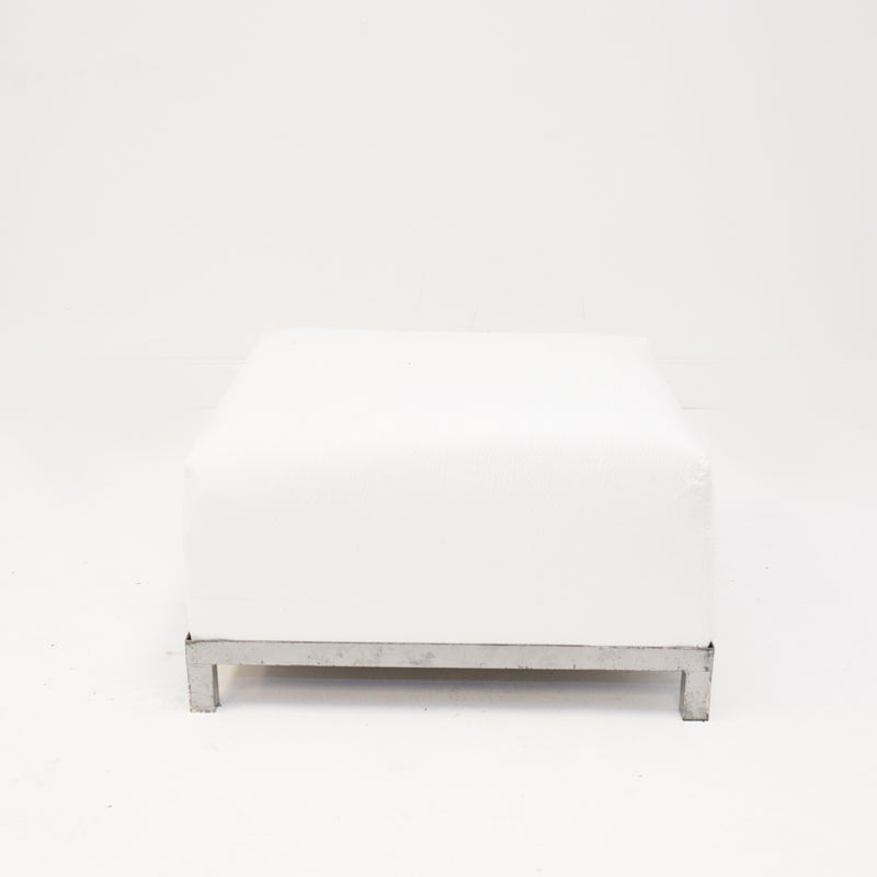 White Suede Axis Ottoman