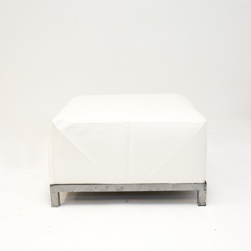 White Leather Axis Ottoman