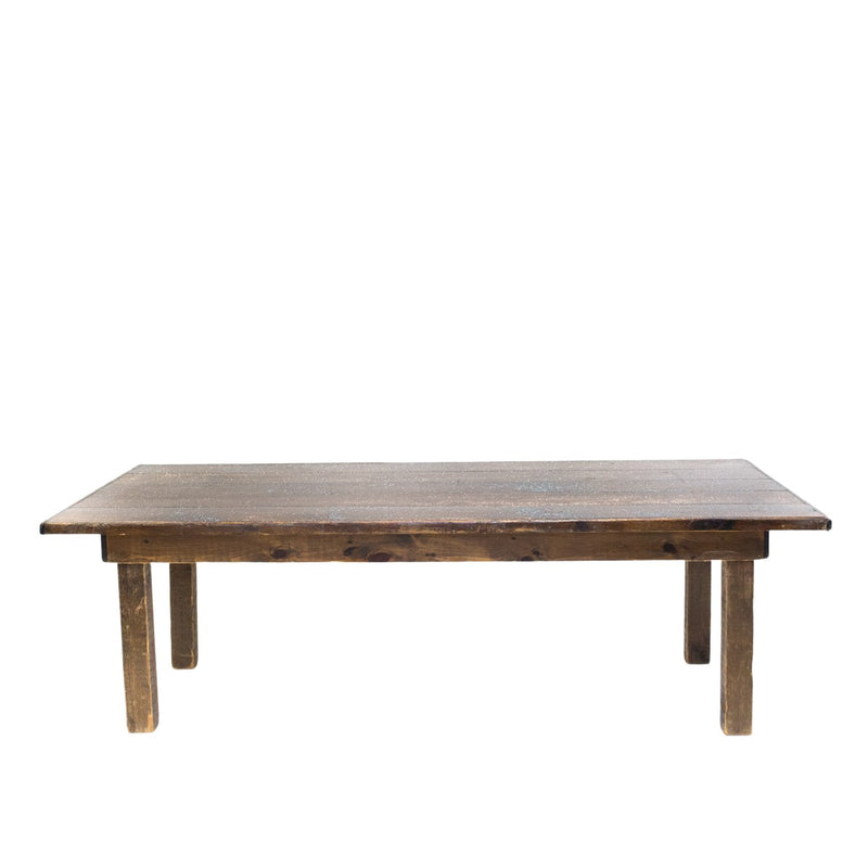 "8' Dark Brown Farm Table 30""H"