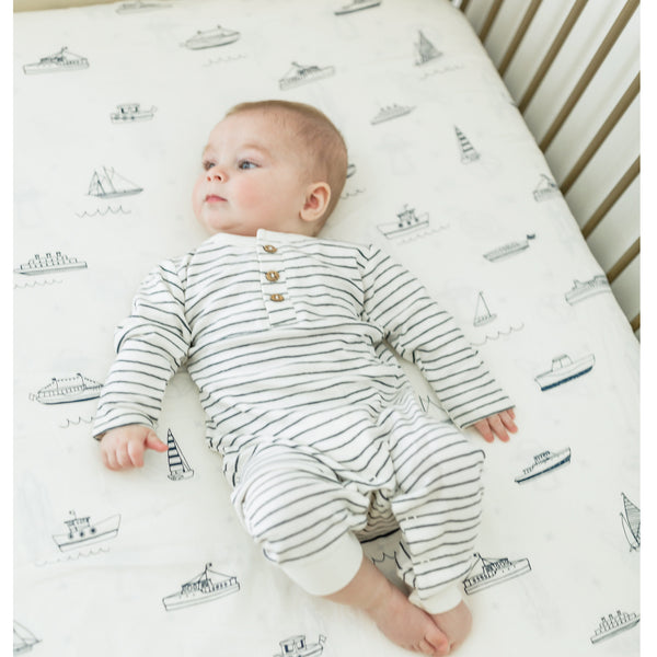 Organic Cotton Crib Fitted Sheet - Sail Away
