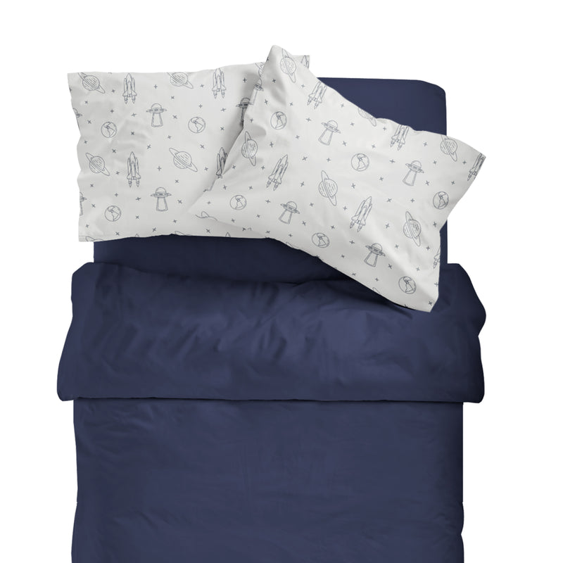 Organic Cotton Toddler Pillowcase - Midnight Blue Celestial Flight