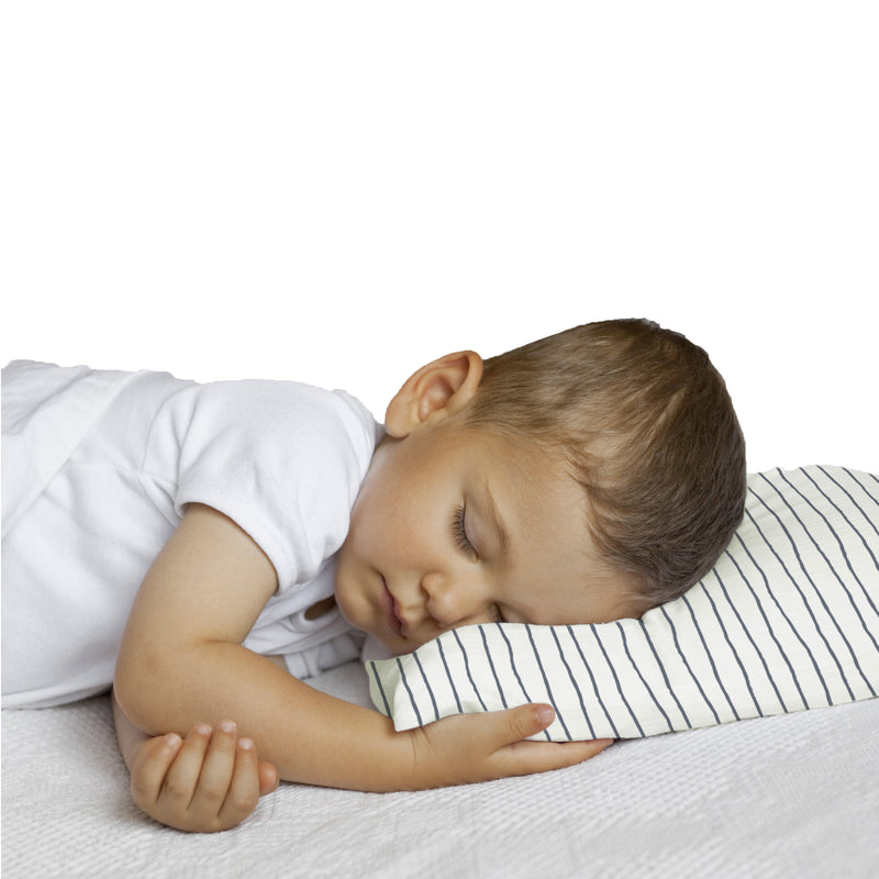 Organic Cotton Toddler Pillowcase - Cobi Blue Groovy Stripes-MakeMake Organics