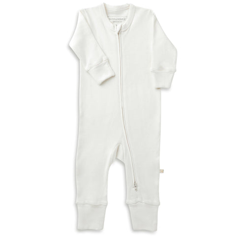 Organic Cotton '2 - Way' Zippered Romper - Stella Ivory