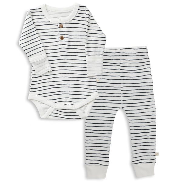 Organic Cotton Top & Bottoms Set - Cobi Blue Stripes