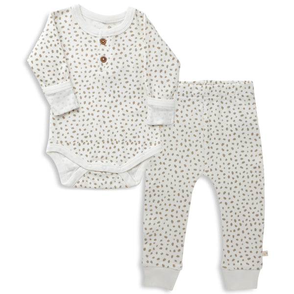 Organic Cotton Top & Bottoms Set - Nola Brown Dots