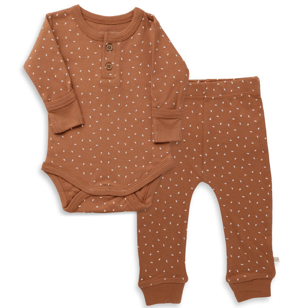 Organic Cotton Top & Bottoms Set - Aubrey Ginger Fleck