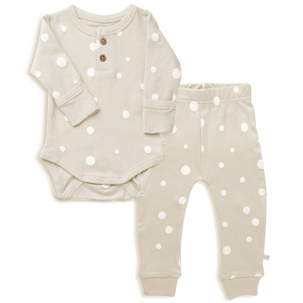 Organic Cotton Top & Bottoms Set - Eli Oat Polka