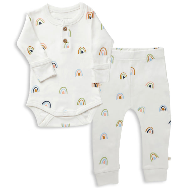 Organic Cotton Top & Bottoms Set - Rainbow