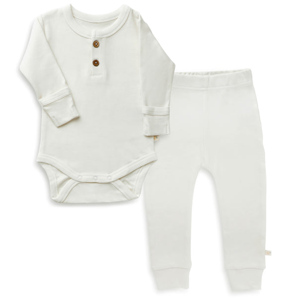 Organic Cotton Top & Bottoms Set - Stella Ivory