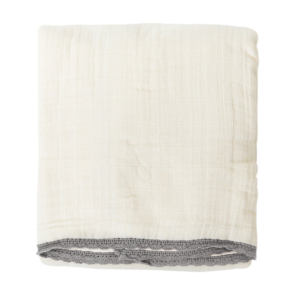 Organic Cotton Muslin Blanket - Noah Grey Lace-MakeMake Organics