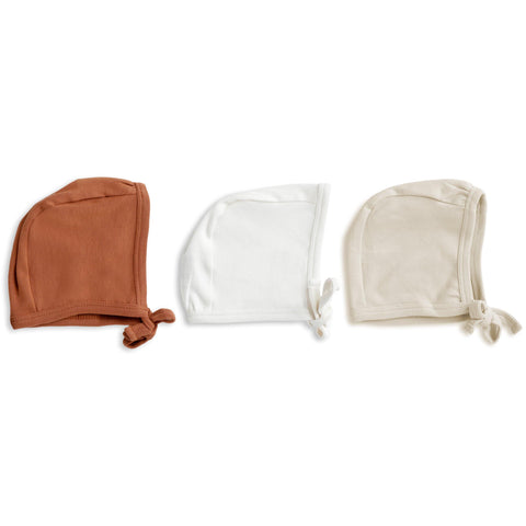 Organic Cotton Bonnet Hat 3 pack -  Stella Ivory, Aubrey Ginger and Eli Oat