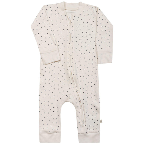 Organic Cotton '2- way'  Zipper Romper - Cobi Blue Fleck
