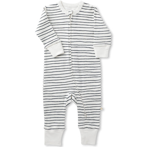 Organic Cotton '2 Way' Zipper Romper - Cobi Blue Stripes